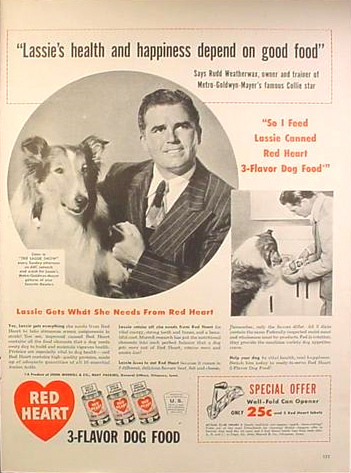 Red Heart dog food ad with Lassie and Rudd Weatherwax